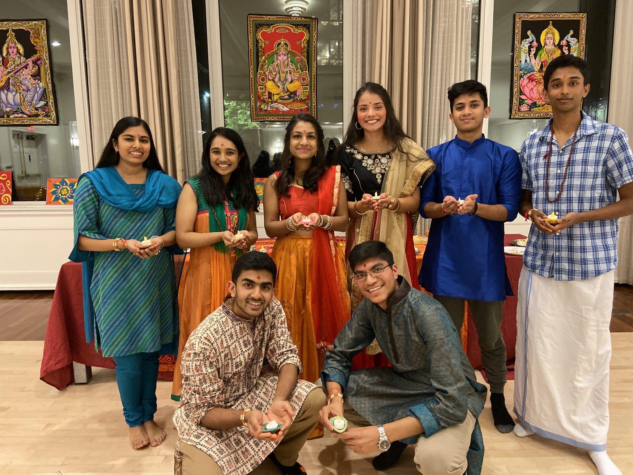 Hindu students smiling at the camera