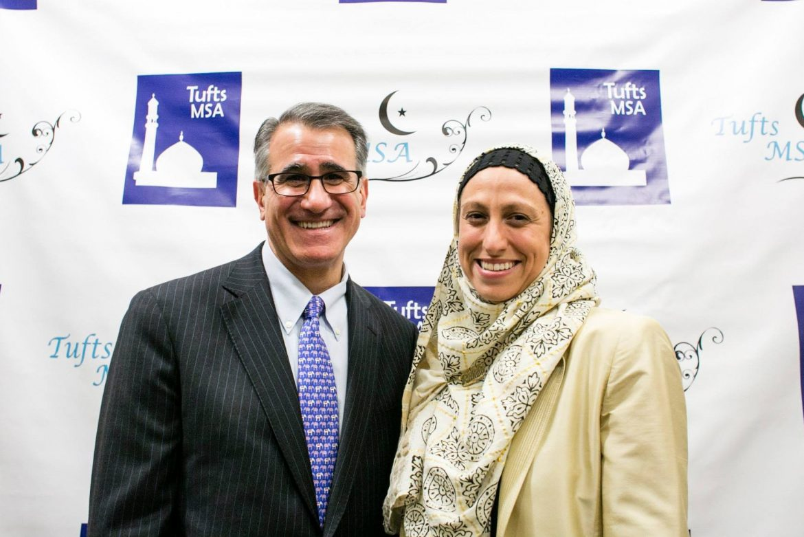 Muslim Chaplain Celene and President Tony Monaco enjoy the 2014 Tufts Eid Dinner!