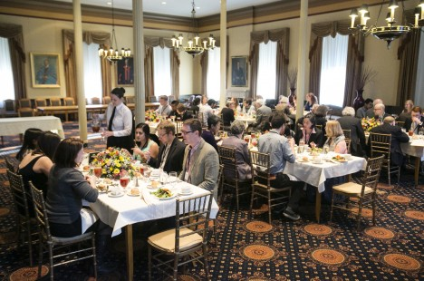 Students, faculty, and staff attend a dinner before the annual Russell Lecture, oldest continuing lectureship at Tufts, on April 10, 2014.