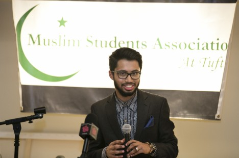 The Muslim Students Association at Tufts President, Abdurrahman Abdurrob, speaks at the Eid holiday celebration on October 17, 2014