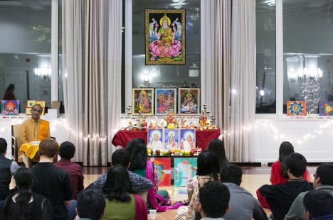 A Diwali prayer and celebration event sponsored by Tufts Hindu Students Council and the Tufts University Chaplaincy on October 24, 2014