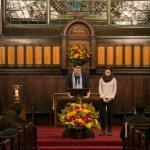 Alyssa Hatch, E15, and John Kelly, A15, recite a quotation and reflection from Dr. Martin Luther King, Jr. at the University Chaplain's office Dr. Martin Luther King Jr. Day Community Celebration at Goddard Chapel on Jan. 22, 2015. (