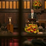 Tufts President Anthony P. Monaco offers introductory remarks at the University Chaplain's office Dr. Martin Luther King Jr. Day Community Celebration at Goddard Chapel on Jan. 22, 2015.