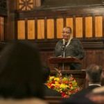 Africana Center director Katrina Moore offers remarks at the University Chaplain's office Dr. Martin Luther King Jr. Day Community Celebration at Goddard Chapel on Jan. 22, 2015.