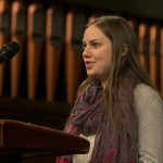 Aviva Herr-Welber, A17, offers remarks at the University Chaplain's office Dr. Martin Luther King Jr. Day Community Celebration at Goddard Chapel on Jan. 22, 2015.