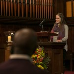 Aviva Herr-Welber, A17, offers remarks at the University Chaplain's office Dr. Martin Luther King Jr. Day Community Celebration at Goddard Chapel on Jan. 22, 2015