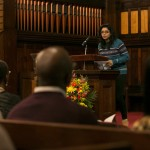 Nazifa Sarawat, E17, recites a quotation and reflection from Dr. Martin Luther King., Jr., at the University Chaplain's office Dr. Martin Luther King, Jr. Day Community Celebration at Goddard Chapel on Jan. 22, 2015.