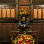 - Nazifa Sarawat, E17, recites a quotation and reflection from Dr. Martin Luther King., Jr., at the University Chaplain's office Dr. Martin Luther King, Jr. Day Community Celebration at Goddard Chapel on Jan. 22, 2015.
