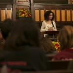 Corrinne Smith-Winterscheidt , A18, recites a quotation and reflection from Dr. Martin Luther King Jr. at the University Chaplain's office Dr. Martin Luther King Jr. Day Community Celebration at Goddard Chapel on Jan. 22, 2015.
