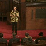 Kaitlin Pang, A16, performs a spoken word response at the University Chaplain's office Dr. Martin Luther King Jr. Day Community Celebration at Goddard Chapel on Jan. 22, 2015.