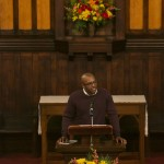 Jukurious Davis, A18, reads a quotation and reflection from Dr. Martin Luther King Jr. at the University Chaplain's office Dr. Martin Luther King Jr. Day Community Celebration at Goddard Chapel on Jan. 22, 2015.