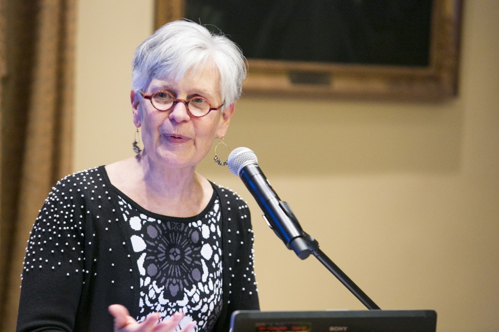 Rev. Janet Cooper Nelson, G72, Chaplain of the University at Brown University, delivers the Annual Russell Lecture of Spiritual Life in the Coolidge Room on April 6, 2015.