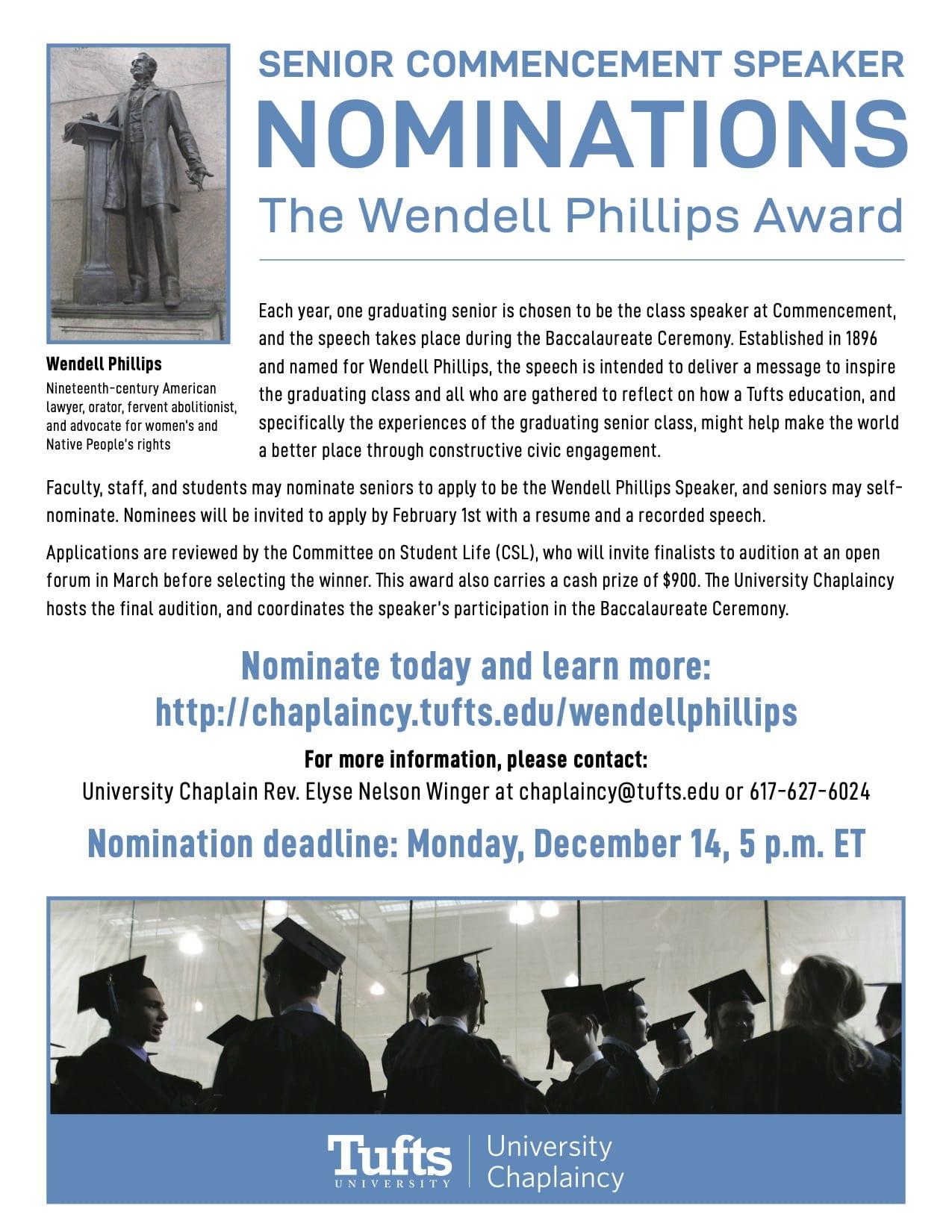 Flyer for Wendell Phillips nomination; all information on website