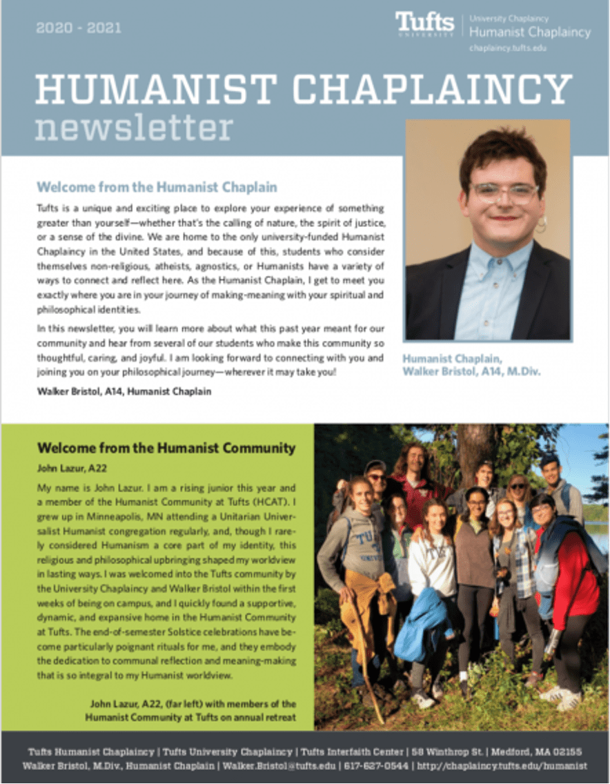 First page of the Humanist newsletter