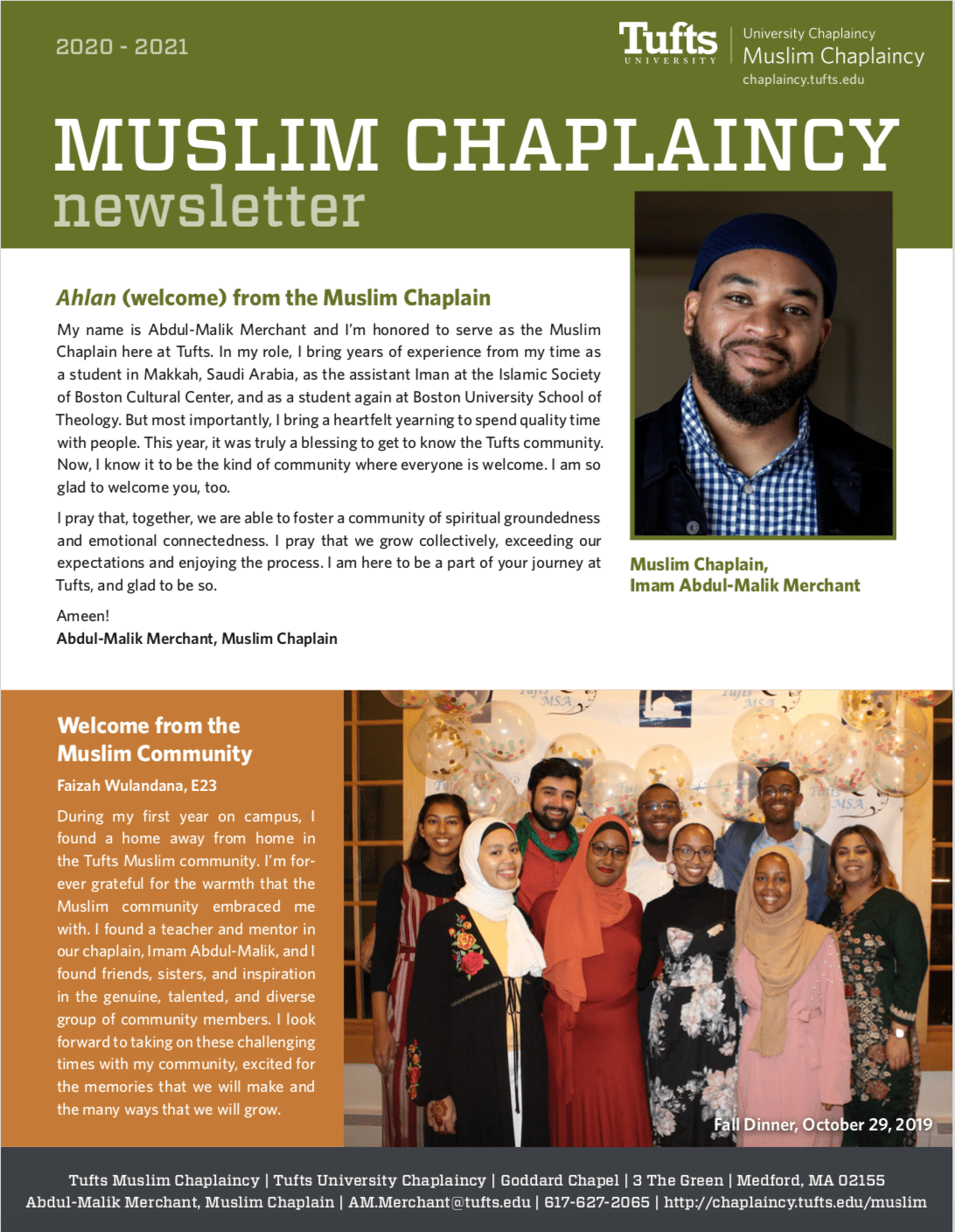 First page of the Muslim newsletter