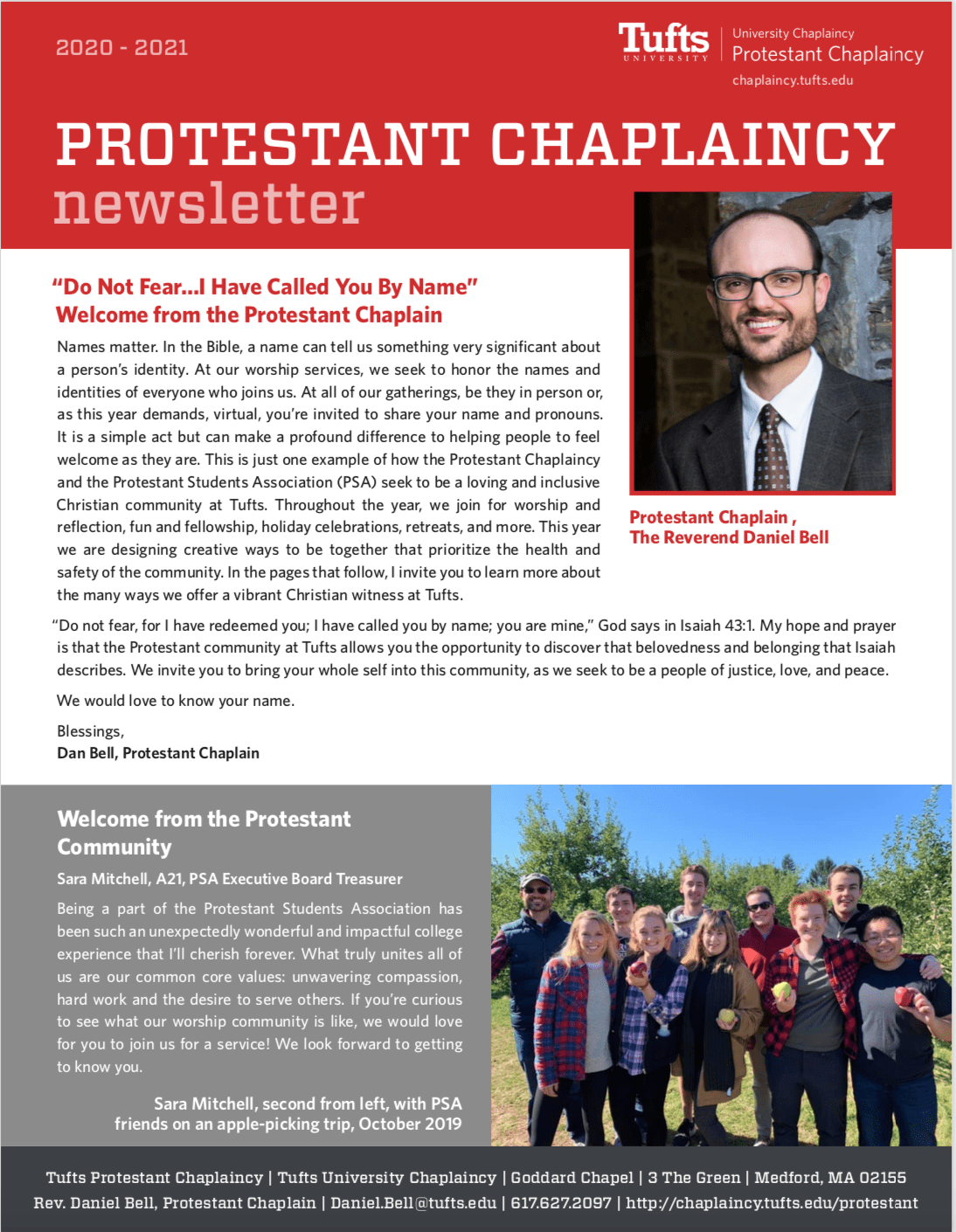 First page of the Protestant Chaplaincy newsletter