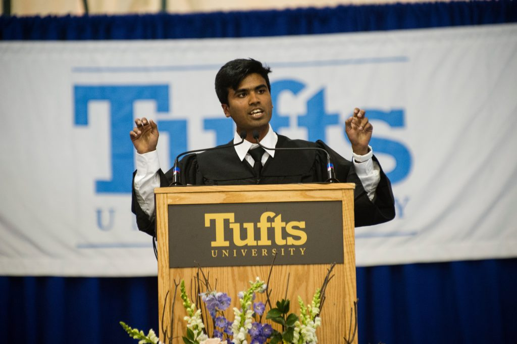 05/21/2016 - Medford/Somerville, Mass. - Wendell Phillips speaker Sharad Sagar, A16, gives his address to his classmates during the Baccalaureate Service on the eve of Tufts University's 160th Commencement on Saturday, May 21, 2016. (Alonso Nichols/Tufts University)