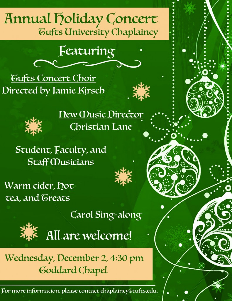 University Chaplaincy Holiday Concert Poster 2016
